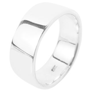 Simple 8mm Wide Plain Band .925 Sterling Silver Ring (Thailand)