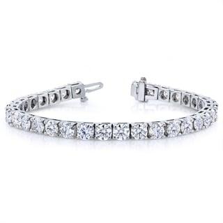Annello 10k White Gold 16 1/2 ct TCW Moissanite Tennis Bracelet