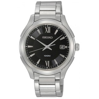 Seiko Men's Stainless Steel Black Dial Watch