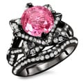 14k Black Gold 2 3/4ct Pink Sapphire and Diamond Ring Set (G, SI1-SI2)
