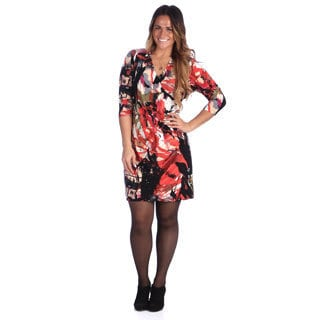24/7 Comfort Apparel Women's Plus Size Red/ Grey Abstract Print Faux Wrap Dress