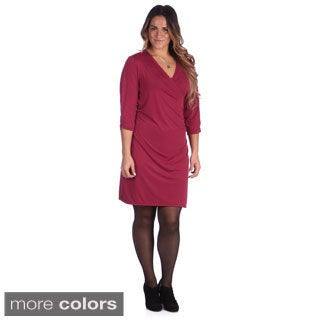 24/7 Comfort Apparel Women's Plus Size Solid 3/4 Sleeve Faux Wrap Dress