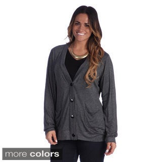 24/7 Comfort Apparel Women's Plus Size Two Pocket Cardigan