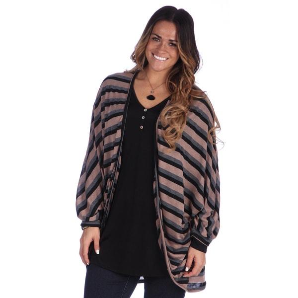 24/7 Comfort Apparel Women's Plus Size Dolman Sleeve Long Shrug
