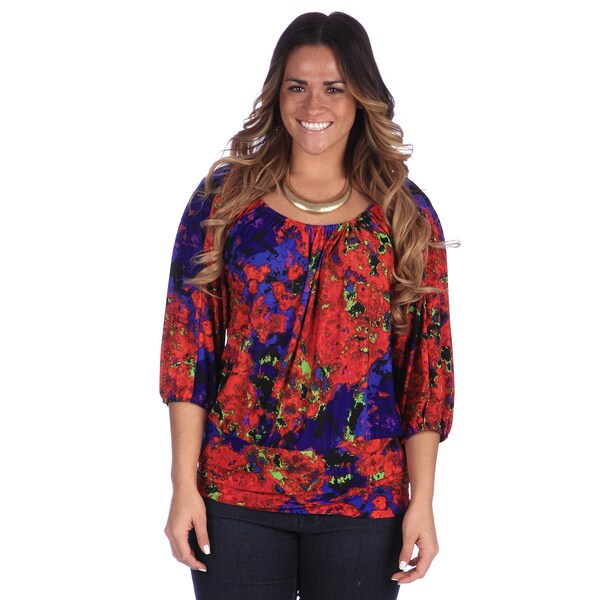 24/7 Comfort Apparel Plus Size Women's Printed 3/4 Sleeve Top