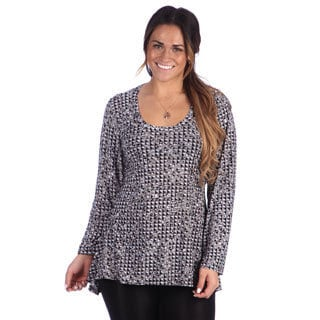 24/7 Comfort Apparel Plus SizeWomen's Printed Long Sleeve High-Low Tunic Top
