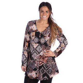24/7 Comfort Apparel Plus Size Women's Printed Long Sleeve Three Button Tunic Top