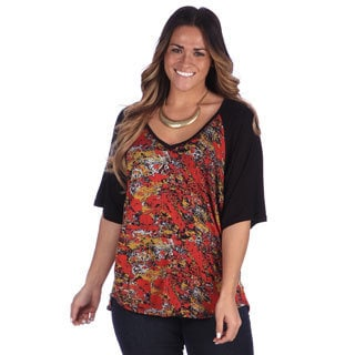 24/7 Comfort Apparel Women's Plus Size Printed V-neck Blouse