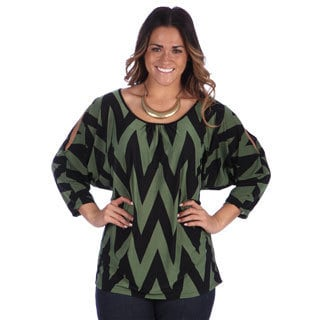 24/7 Comfort Apparel Women's Plus Size Printed Open Shoulder Top