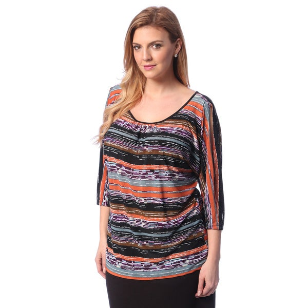 24/7 Comfort Apparel Plus Size Women's Printed 3/4 Sleeve Open Shoulder Top