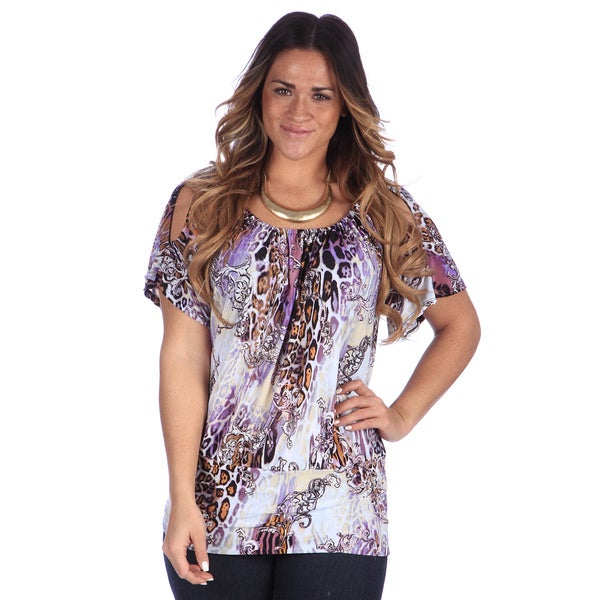 24/7 Comfort Apparel Women's Plus Abstract Animal Print Split Sleeve Banded Top