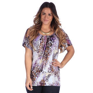 24/7 Comfort Apparel Women's Plus Size Printed Split Sleeve Banded Top
