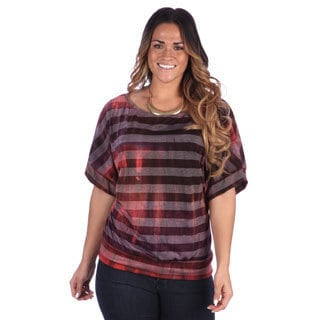 24/7 Comfort Apparel Plus Size Women's Printed Short Sleeve Banded Dolman Top