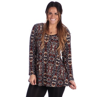 24/7 Comfort Apparel Plus Size Women's Printed Long Sleeve Tunic Top