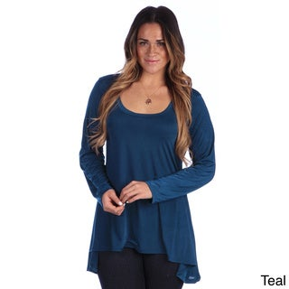 24/7 Comfort Apparel Plus Size Women's Printed Long Sleeve High-Low Tunic Top