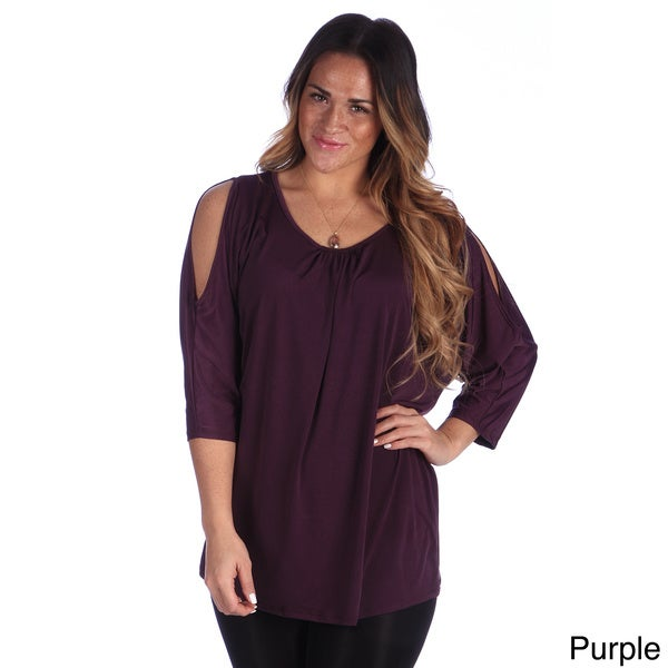 24/7 Comfort Apparel Plus Size Women's Printed 3/4 Split Sleeve Top