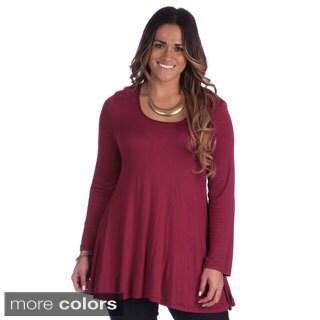 24/7 Comfort Apparel Women's Plus Size Long Sleeve Tunic