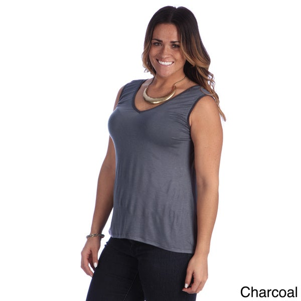 24/7 Comfort Apparel Women's Plus Size Reversible Tank Top