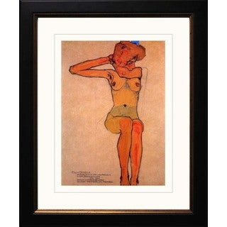 Egon Schiele 'Seated Female Nude with Raised Right Arm' Giclee Framed