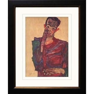 Egon Schiele 'Self Portrait' Giclee Framed