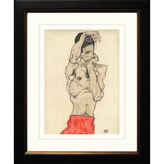 Egon Schiele 'Standing Male Nude with Red Loincloth' Giclee Framed
