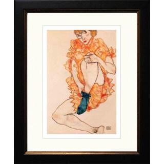 Egon Schiele 'The Green Stocking' Giclee Framed