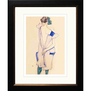 Egon Schiele 'Standing Girl with Blue Dress & Green Stocking' Giclee Framed
