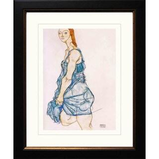 Egon Schiele 'Standing Woman in Green Shirt' Giclee Framed