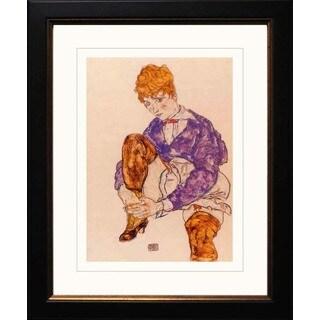 Egon Schiele 'Seated Holding Her Right Leg' Giclee Framed