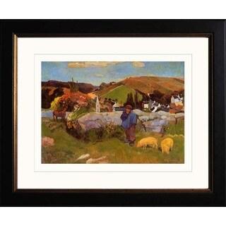 Paul Gauguin 'The Swineherd Brittany' Giclee Framed Art