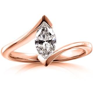 Annello 10k Rose Gold Certified 7/8ct Marquise Diamond Ring (F, SI2)
