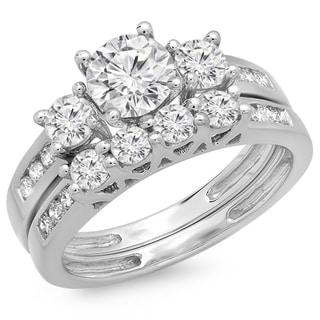 14k White Gold 1 4/5ct TDW Round Diamond Three Stone Bridal Set (H-I, I1-I2)