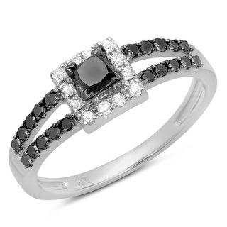 10k White Gold 3/4ct TDW Black and White Princess Cut Diamond Halo Ring (H-I, I1-I2)