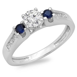 14k White Gold 3/4ct TDW Diamond and Blue Sapphire Three Stone Ring (H-I, I1-I2)