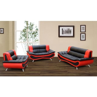 Christina Red/ Black 2tone Bonded Leather Modern Sofa Set