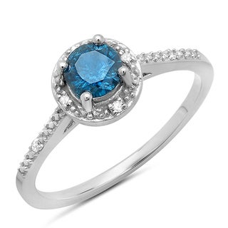 10k White Gold 1/2ct TDW Round Blue and White Diamond Solitaire Ring (H-I, I1-I2)