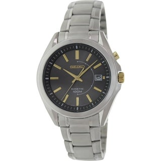 Seiko Men's Kinetic SKA527 Silver Stainless-Steel Quartz Watch with Grey Dial