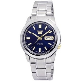 Seiko Men's 5 Automatic SNKK11K Silver Stainless-Steel Automatic Watch with Blue Dial