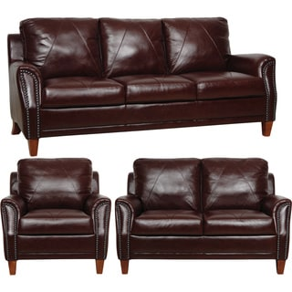 Dark Burgundy Italian Leather 3-piece Living Room Sofa Set