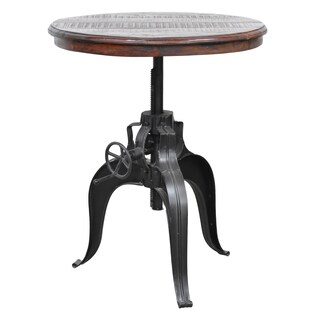 Niketa Crank Table with 30-inch Reclaimed Wood Top