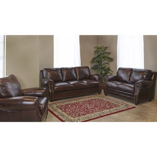 Chocolate Italian Leather 3-piece Living Room Sofa Set