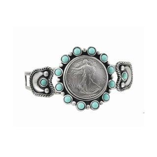 Silver Walking Liberty Half Dollar Cuff Bracelet