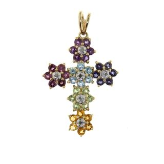Neda Behnam 14k Yellow Gold Diamond Accent and Multi Gemstone Floral Cross Necklace