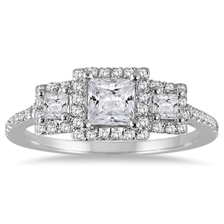 14k White Gold 1ct TDW Princess Cut Halo Diamond Three Stone Ring (I-J, I1-I2)