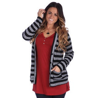 24/7 Comfort Apparel Women's Plus Size Striped Long Sleeve Cardigan