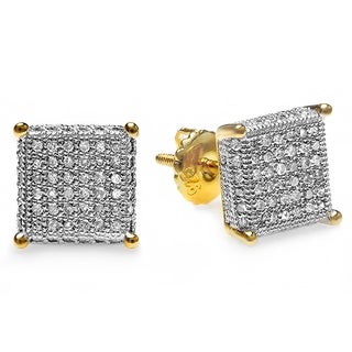 18k Yellow Gold Plated Silver 1/2ct TDW Men's Diamond Dice Shape Hip Hop Iced Stud Earrings (I-J, I2-I3)