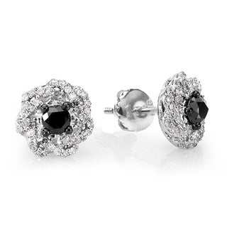 Sterling Silver 2/5ct TDW Black and White Round Diamond Swirl Stud Earrings (I-J, I2-I3)