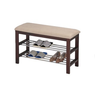 Beige/ Walnut Shoe Rack Bench