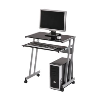Silver Computer Workstation with Keyboard Drawer