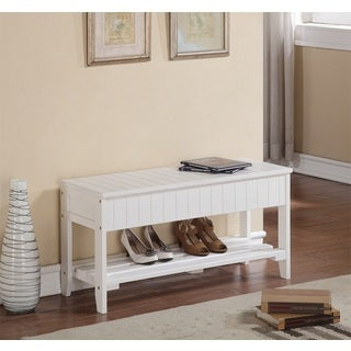 White Solid Wood Storage Bench/ Shoe Shelf